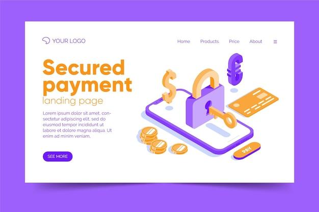 Página de destino do pagamento seguro de design plano