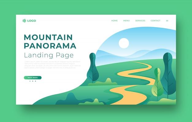 Página de destino do panorama de montanha plana