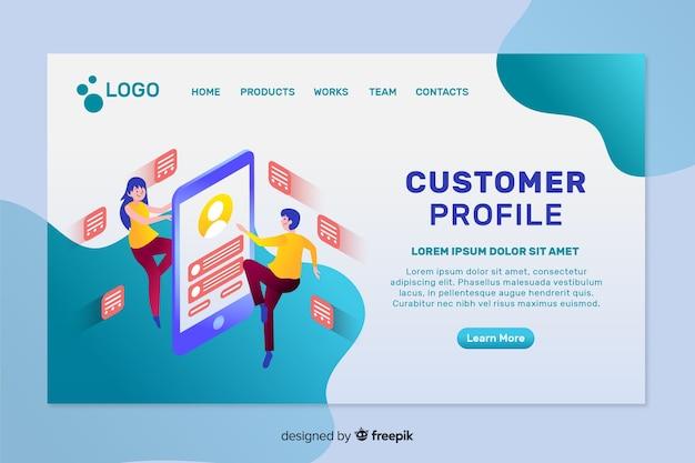 Página de destino do perfil do cliente