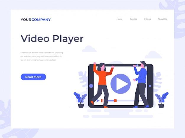 Página de destino do player de vídeo