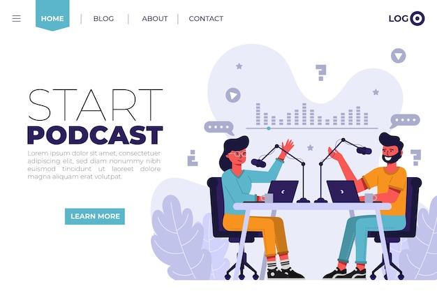 Página de destino do podcast com ilustração de pessoas