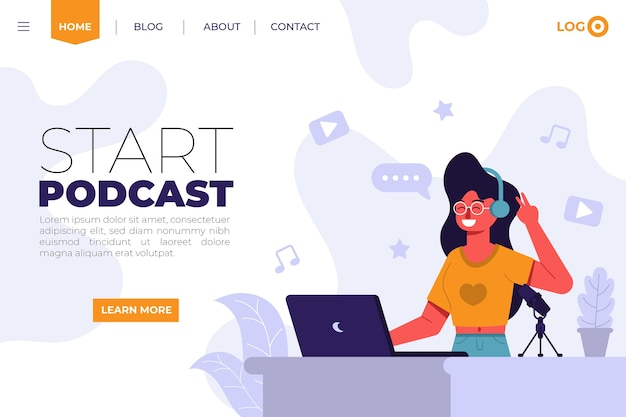 Página de destino do podcast com ilustração