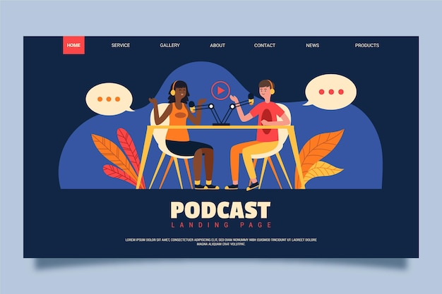 Página de destino do podcast com pessoas conversando