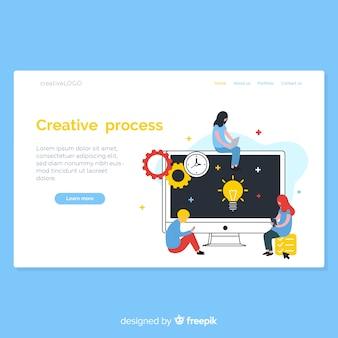 Página de destino do processo criativo desenhada a mão