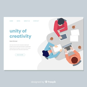 Página de destino do processo criativo em design plano