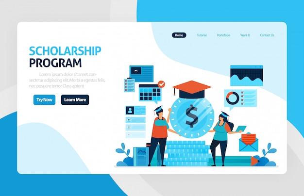 Página de destino do programa de bolsas de estudo