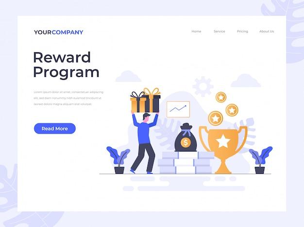 Página de destino do programa de recompensas