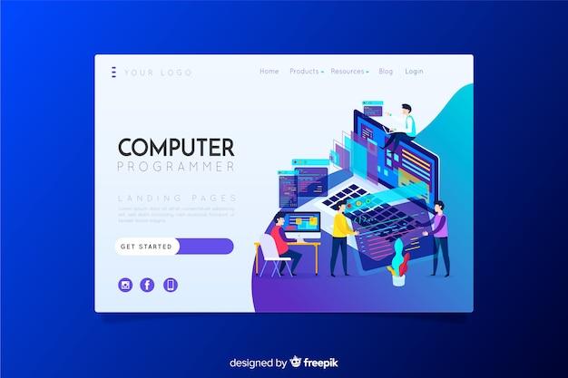 Página de destino do programador de computador