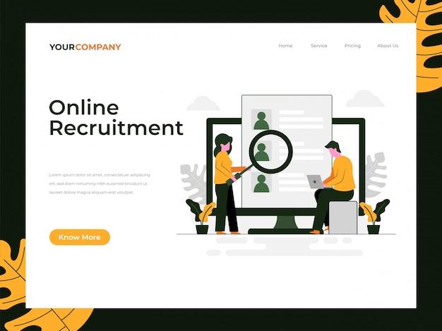 Página de destino do recrutamento online