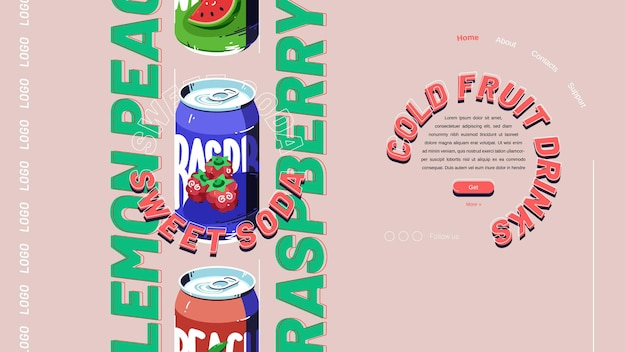 Página de destino do refrigerante doce