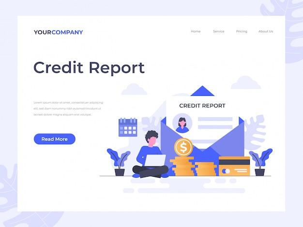 Página de destino do relatório de crédito