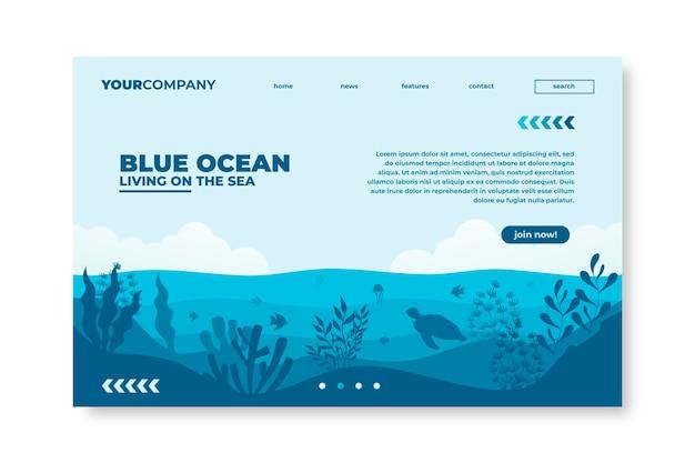 Página de destino do restaurante blue ocean