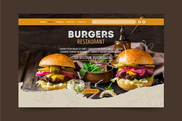 Página de destino do restaurante de hambúrgueres