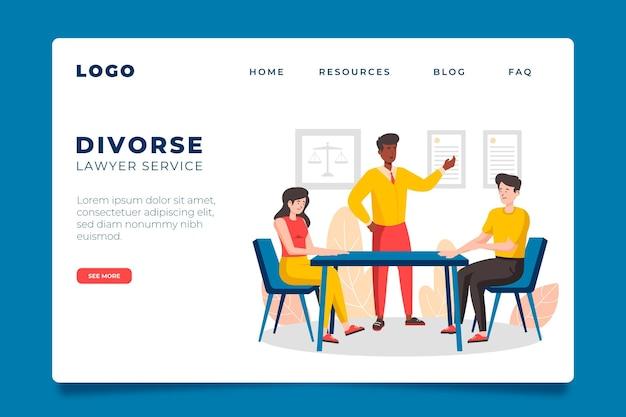 Página de destino do serviço de advogado de divórcio