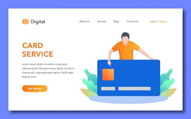 Página de destino do serviço de cartão de crédito