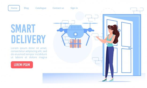 Página de destino do serviço de entrega de porta rápida e segura para drones inteligentes. quadricóptero autônomo que entrega a caixa de papelão do pacote na porta da casa do cliente. pedido online, compras. remotamente