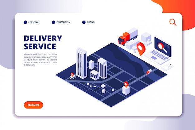 Página de destino do serviço de entrega isométrica