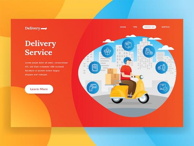 Página de destino do serviço de entrega on-line com scooter