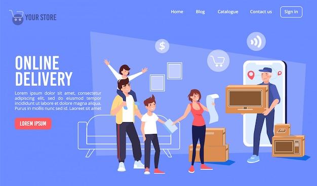 Página de destino do serviço de entrega on-line de eletrônicos