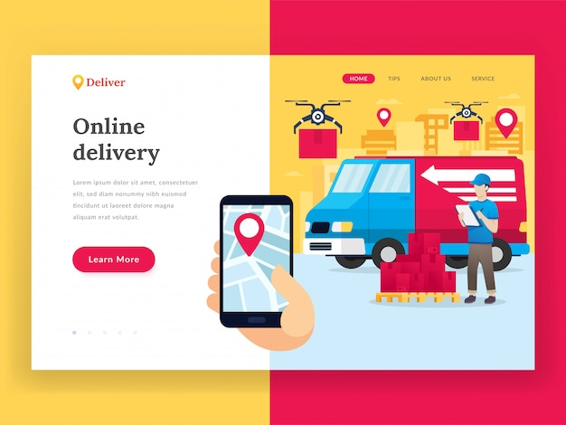 Página de destino do serviço de entrega on-line