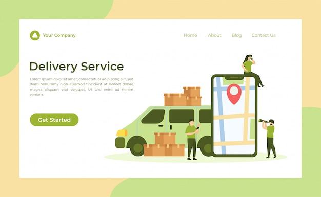 Página de destino do serviço de entrega