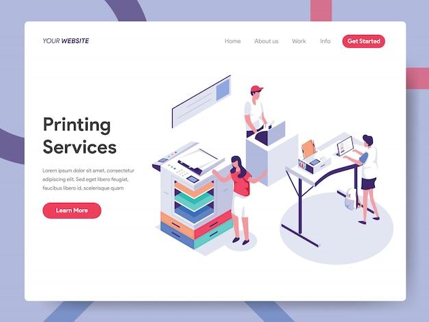 Página de destino do serviço de impressão