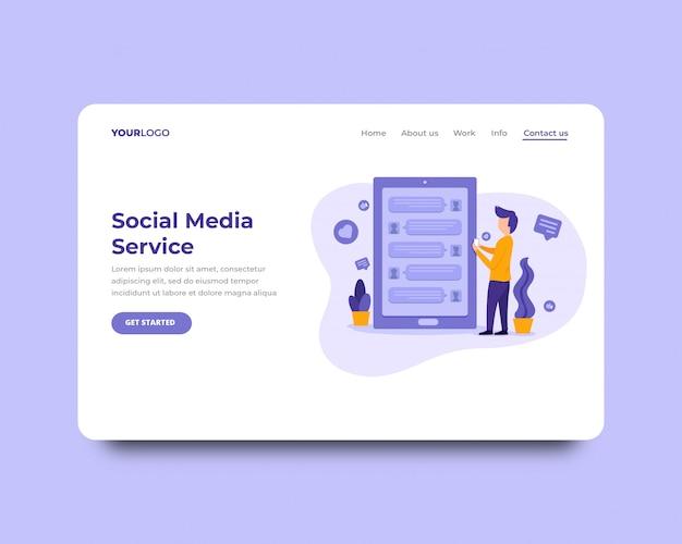 Página de destino do serviço de mídia social