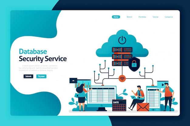 Página de destino do serviço de segurança do banco de dados