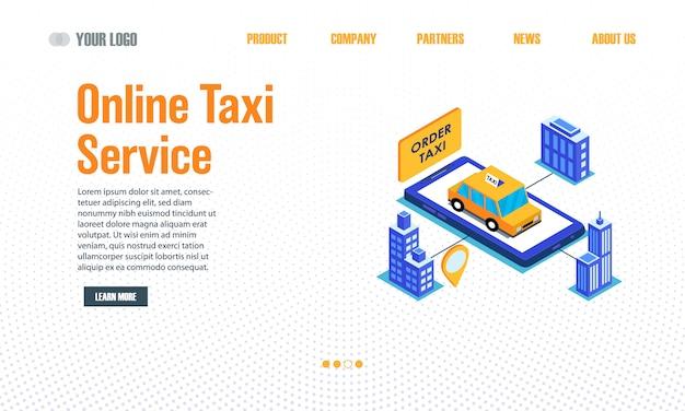 Página de destino do serviço de táxi online