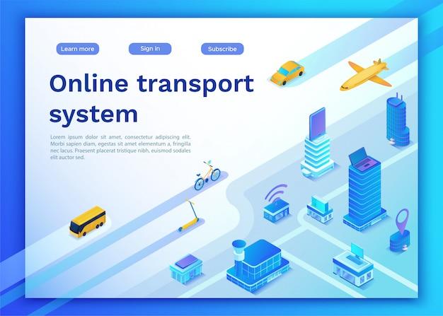 Página de destino do serviço online de transporte móvel