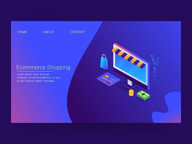 Página de destino do shopping de comércio eletrônico
