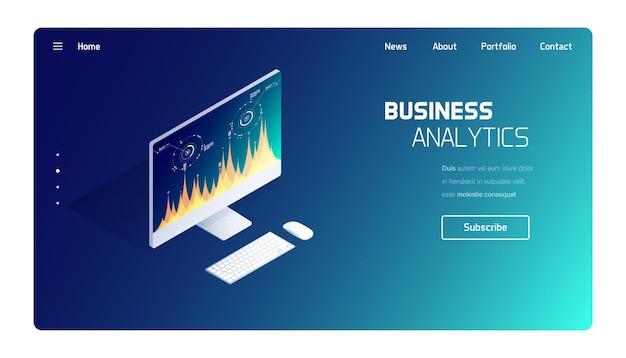 Página de destino do sistema de análise de negócios e finanças
