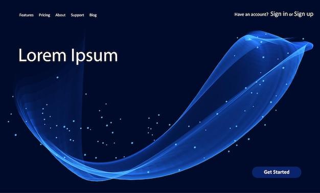 Página de destino do site abstrato com um design de linhas azuis fluidas
