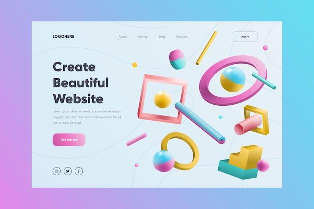 Página de destino do site criativo com formas ilustradas