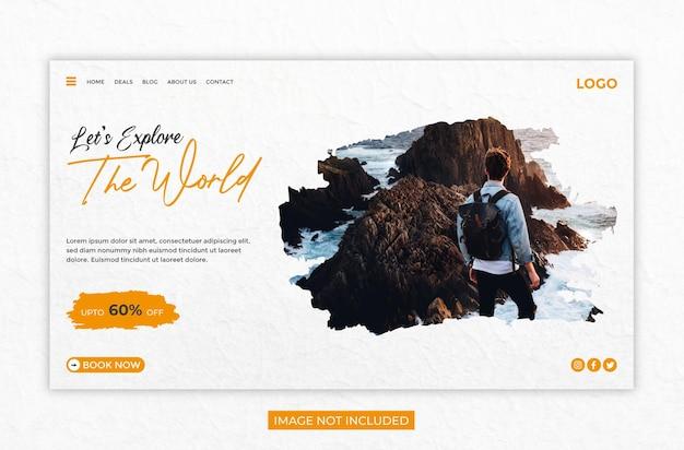 Página de destino do site da agência de viagens ou modelo de banner da web