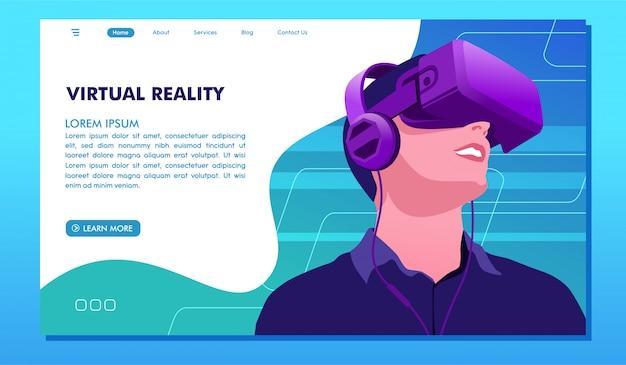 Página de destino do site de desenvolvimento de tecnologia de realidade virtual futura