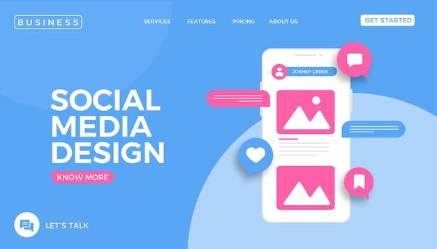 Página de destino do site de design de mídia social