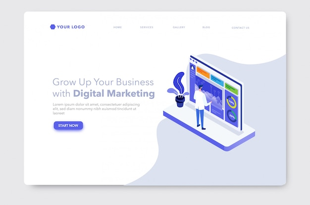 Página de destino do site de ilustração isométrica de marketing digital ou analítico de dados