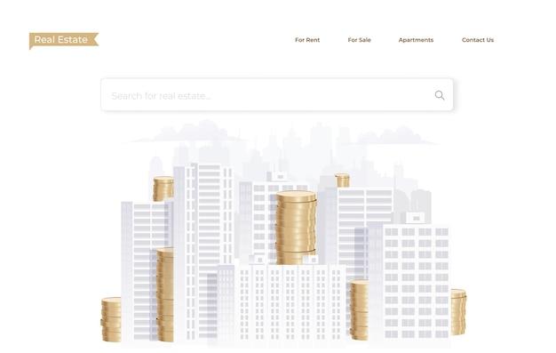 Página de destino do site de investimento imobiliário
