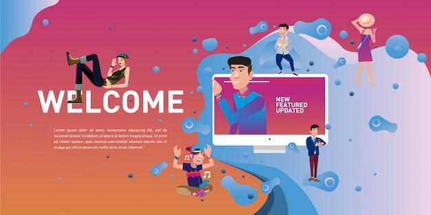 Página de destino do site de mercado de estilo de vida de boas-vindas