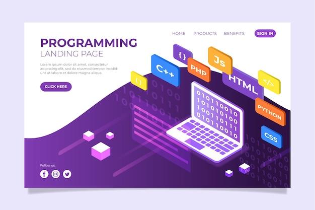Página de destino do site de programação