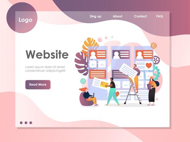 Página de destino do site de vetor de serviços web