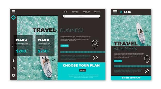 Página de destino do site de viagens