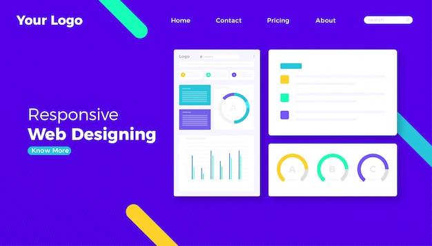 Página de destino do site do conceito de design web responsivo