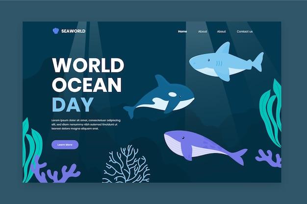 Página de destino do site do dia mundial do oceano