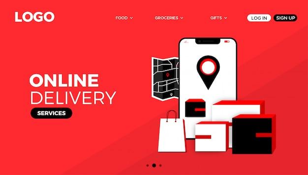 Página de destino do site do online deliver