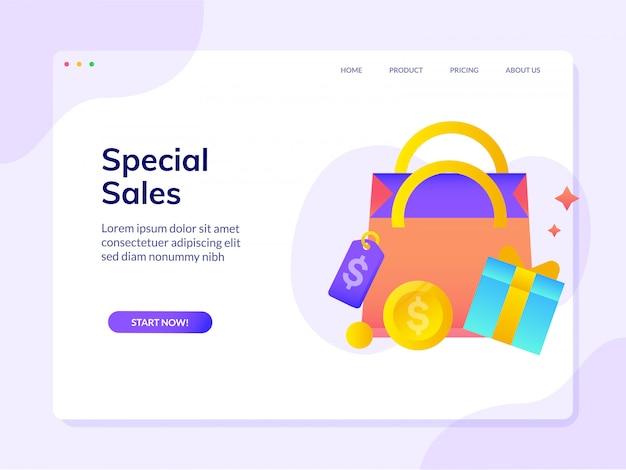 Página de destino do site especial de super vendas