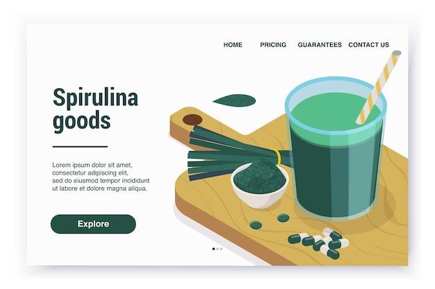 Página de destino do site isométrico da spirulina com links e tábua de cortar com comprimidos e pó