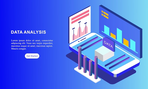 Página de destino do site isométrico de análise de dados.