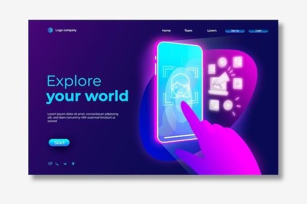 Página de destino do smartphone em neon